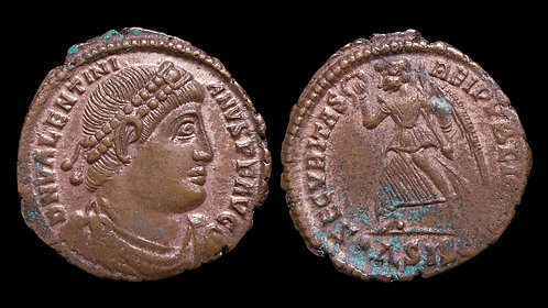 VALENS . AD 364-378 . AE3 . Victory advancing left . Siscia