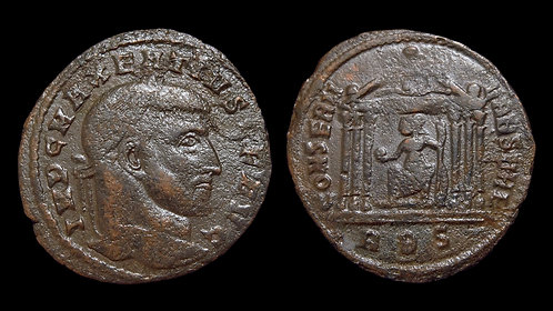MAXENTIUS . AD 306-312 . AE Follis . Temple of Venus & Roma