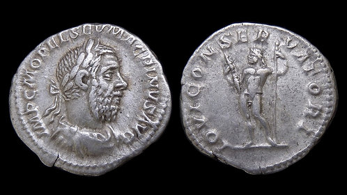 MACRINUS . AD 217-218 . AR Denarius . Jupiter, King of the Gods