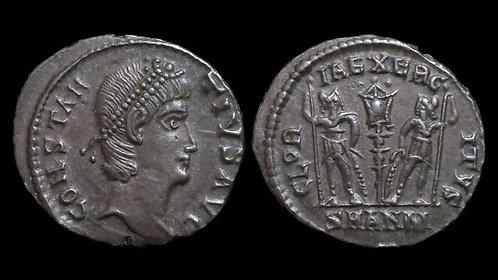 CONSTANTIUS II . AD 337-361 . AE4 . GLORIA EXERCITVS . *Excellent example*