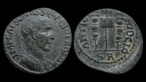 TRAJAN DECIUS . PISIDIA, Antioch . AE24 . Vexillum and standards
