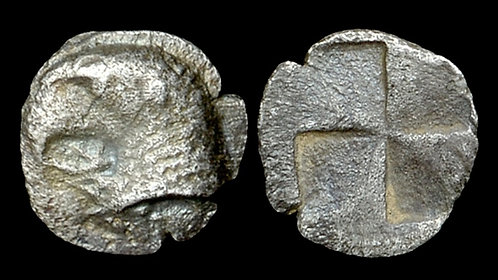 AEOLIS, Kyme . Circa 480-450 BC . AR Hemiobol . Affordable 2,400 year old silver