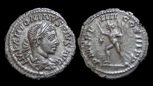 ELAGABALUS . AD 218-222 . AR Denarius. Sol . *Interesting reverse die clash*
