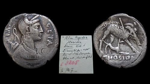 ROMAN REPUBLIC . C Hosidius Geta, 64 BC . Denarius . Calydonian Boar *Pedigreed*