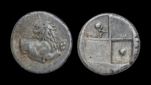 THRACE, Chersonesos . Circa 386-338 BC . AR Hemidrachm . Lion protome
