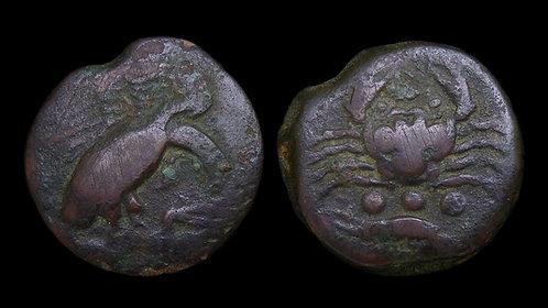 SICILY, Akragas . Circa 420-406 BC . AE Tetras . Eagle, hare and seafood