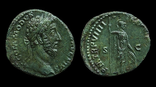 "COMMODUS . AD 177-192 . As . ""Minerva"" . Stunning emerald green patina"