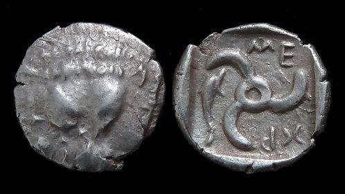 LYCIA, Dynasts of . Mithrapata, 390-370 BC . AR Diobol . Dolphin symbol