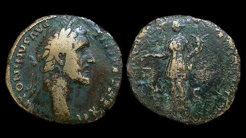 ANTONINUS PIUS . AD 138-161 . AE Sestertius . Aequitas, Goddess of Fairness