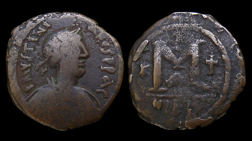 BYZANTINE EMPIRE . Justinian I, AD 527-565 . AE Follis . *Large hefty bronze*
