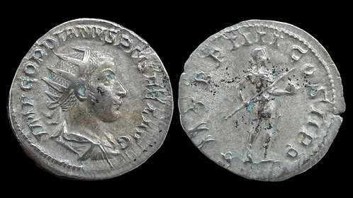 "GORDIAN III . AD 238-244 . Antoninianus . ""Emperor in military attire"""