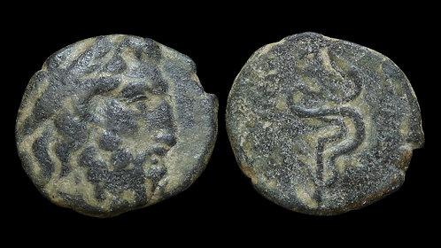 MYSIA, Pergamon . 200-133 BC . AE18 . Asklepios, God of Healing and Medicine
