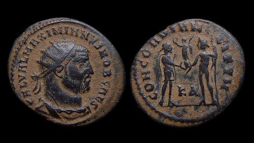 """GALERIUS, as Caesar . AD 293-305 . Radiatus . """"Emperor and Jupiter"""" . Scarce"""