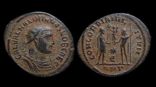 """GALERIUS, as Caesar . AD 293-305 . Radiatus . """"Emperor and Jupiter"""" . Antioch"""