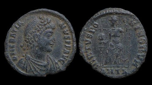 GRATIAN . AD 367-383 . AE3 . Roma enthroned . Antioch mint