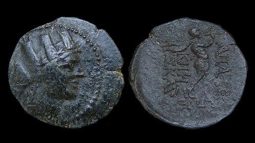 PHRYGIA, Apameia . 133-48 BC . AE17 . Satyr Marsyas playing aulos (double flute)