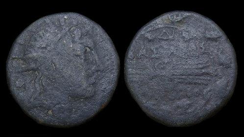 MACEDONIAN KINGDOM . Philip V, 221-179 BC . AE Double Unit . Helios/Thunderbolt