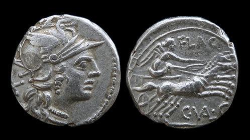 ROMAN REPUBLIC . C. Valerius C.f. Flaccus, 82-81 BC . Denarius . Victory in Biga
