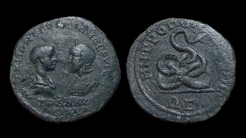 GORDIAN III with TRANQUILLINA . MOESIA INFERIOR, Tomis . AE27 . *RPC listed*