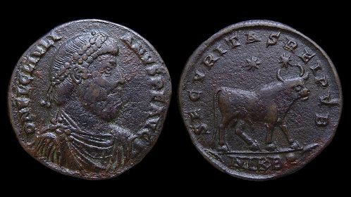 """JULIAN THE APOSTATE . AD 361-363 . AE1 . """"Pagan Bull of Julian"""" . Nicomedia"""