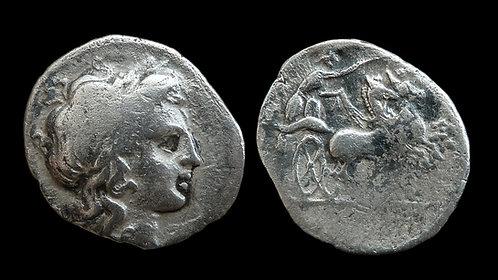CAMPANIA, Neapolis . 300-275 BC . AR Triobol . Nike driving chariot *Rare*