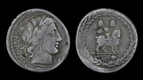 ROMAN REPUBLIC . M. Fonteius, 85 BC . Denarius . Cupid riding goat