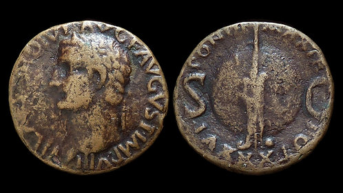 TIBERIUS . AD 14-37 . AE As . Rudder on Globe . *Pedigreed*
