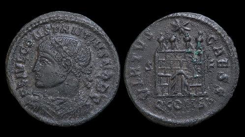 CONSTANTIUS II, as Caesar . AD 324-337 . AE3 . *Scarce* Open Door Campgate