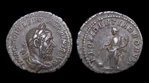 MACRINUS . AD 217-218 . AR Denarius . Providentia standing over globe