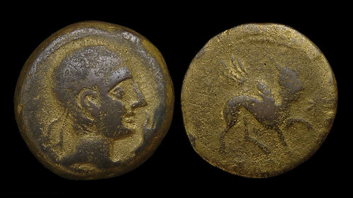 IBERIA (SPAIN), Kastulo . 2nd century BC . AE27 - Gilded . Sphinx