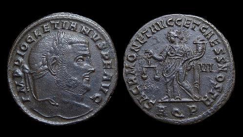 "DIOCLETIAN . AD 284-305 . Follis . ""Moneta"" . Aquileia"