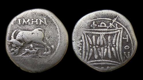 ILLYRIA, Apollonia . 250-200 BC . AR Drachm . Cow and Calf
