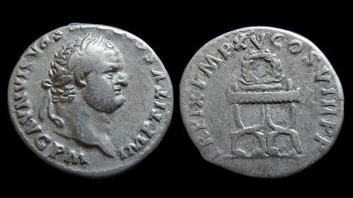 TITUS . AD 79-81 . AR Denarius . Sella Curulis, symbol of imperium