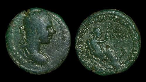 ELAGABALUS . MOESIA INFERIOR, Nicopolis ad Istrum . AE26 . River God