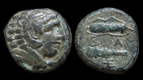MACEDONIAN KINGDOM . Alexander III the Great, 336-323 BC . AE Unit . Bow & Club