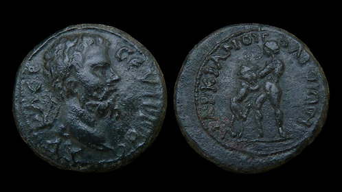SEPTIMIUS SEVERUS . MOESIA INFERIOR, Marcianopolis . AE18 . Hercules & the Lion