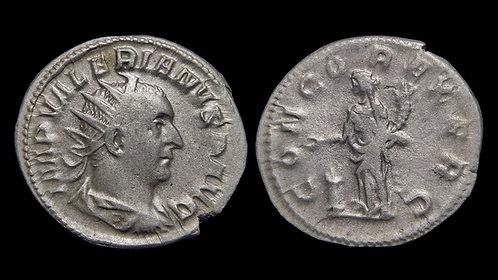 VALERIAN . AD 253-260 . Billon Antoninianus . Viminacium mint