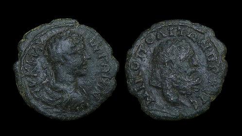 CARACALLA . MOESIA INFERIOR, Nicopolis ad Istrum . AE18 . Bust of Hercules