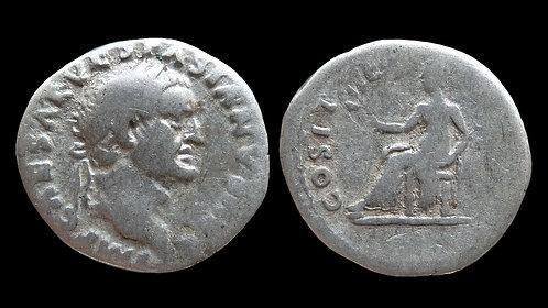 """VESPASIAN . AD 69-79 . Denarius . """"Pax"""" . Early portrait"""