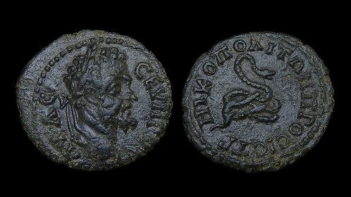 SEPTIMIUS SEVERUS . MOESIA INFERIOR, Nicopolis ad Istrum . AE18 . Coiled serpent
