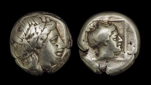 LESBOS, Mytilene . 375-327 BC . EL Hekte . Electrum coinage of Mytilene