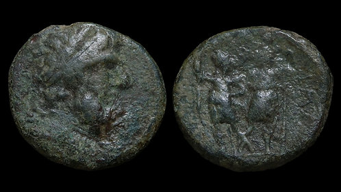 COELE-SYRIA, Chalcis . Ptolemaeus, circa 85-40 BC . AE21 . Zeus / Dioscuri