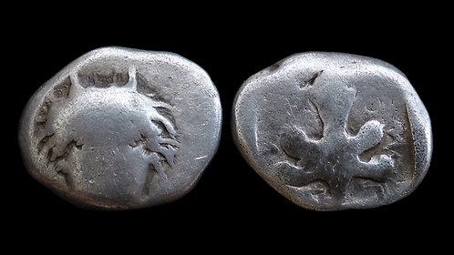 CARIA, Idyma . 5th-4th century BC . AR Drachm . Horned head of Pan . **Rare**
