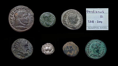 LOT of 7 GREEK & ROMAN COINS . 4th century BC -  4th century AD . Various types