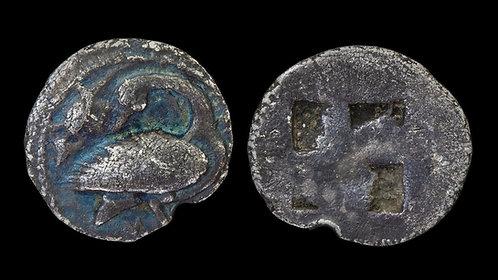 MACEDON, Eion . Circa 460-400 BC . AR Trihemiobol . Goose & Lizard