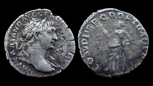 """TRAJAN . AD 98-117 . Denarius . """"Pax"""""""