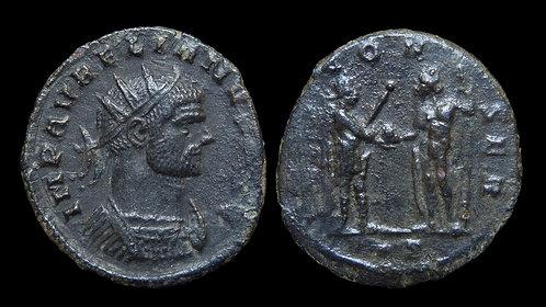"AURELIAN . AD 270-275 . Antoninianus . ""Emperor and Jupiter"""