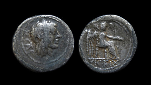 ROMAN REPUBLIC . M. Porcius Cato, 89 BC . Quinarius . Scarcer small denomination
