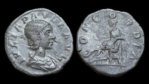 JULIA PAULA . AD 219-220 . AR Denarius . First Wife of Elagabalus