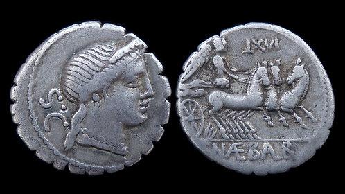 ROMAN REPUBLIC . C. Naevius Balbus, 79 BC . Denarius . Less common 'Triga' issue